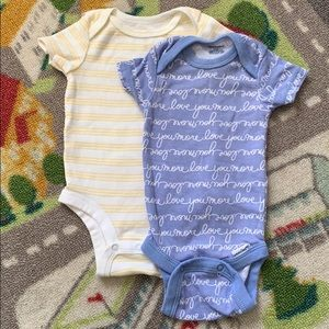 Unisex Neutral Baby Onesies Yellow Blue 0-3m